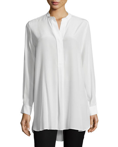 Stand-Collar Silk Tunic Top