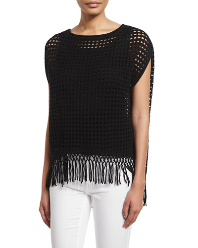 Pandora Crochet Sweater with Fringe Hem
