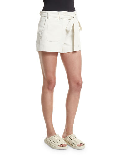 Double-Weave Cotton Belted Shorts