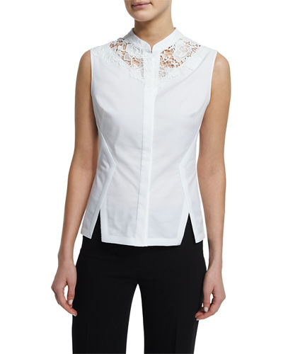 Nora Sleeveless Lace-Inset Blouse