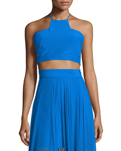 Sleeveless Silk Halter Crop Top