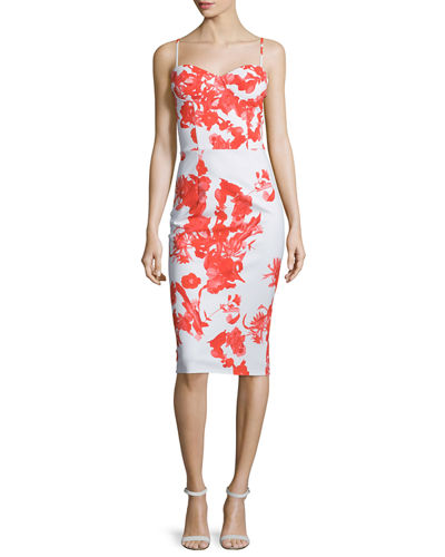 Dionella Floral-Print Bustier Cocktail Dress