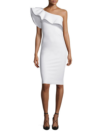 Elisse One-Shoulder Ruffle Sheath Cocktail Dress