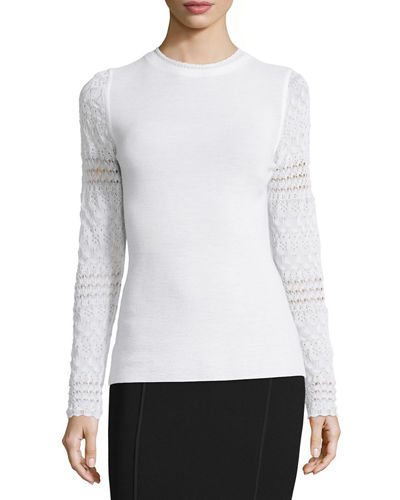 Theresa Long Crochet-Sleeve Merino Sweater
