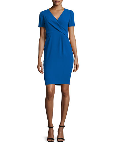 Deandra Short-Sleeve Crepe Sheath Dress