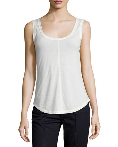 Hazel Semi-Sheer Heathered Jersey Shell