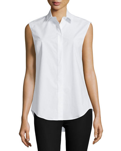 Sleeveless Collared Poplin Shirt