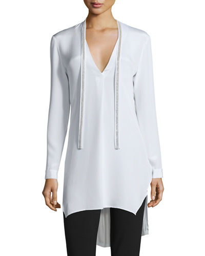 Long-Sleeve Silk Tunic W/ Embellished Ties