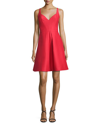 Halston Heritage Sleeveless Pleated Structured Faille Cocktail