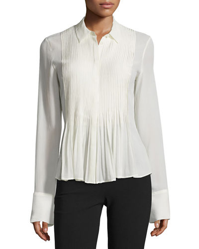 Dionelle Pintuck Long-Sleeve Top