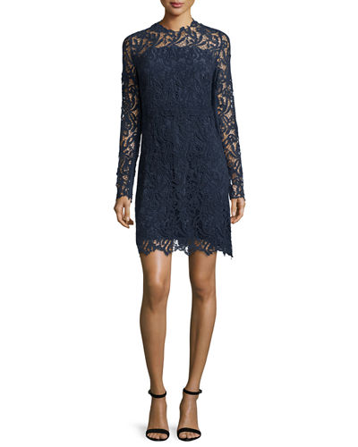 Priscilla Long-Sleeve Lace Cocktail Dress