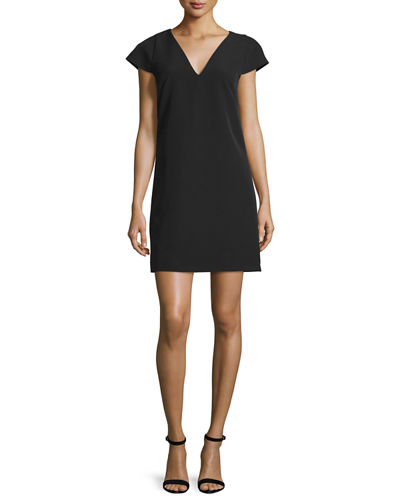 Eva Cap-Sleeve Stretch Cady Dress