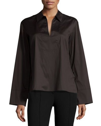 Split-Neck Spread-Collar Poplin Top