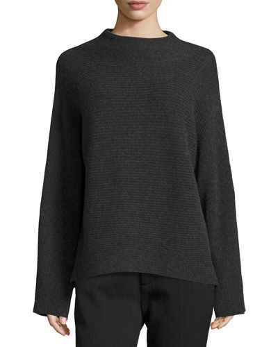 Vince Ribbed Wool-Cashmere Funnel-Neck Sweater