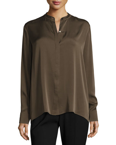 Flyaway-Back Stretch-Silk Blouse