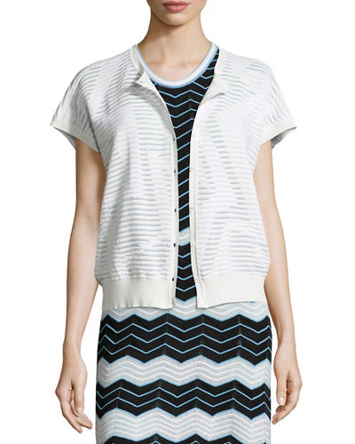 Short-Sleeve Bubble-Hem Zigzag Cardigan