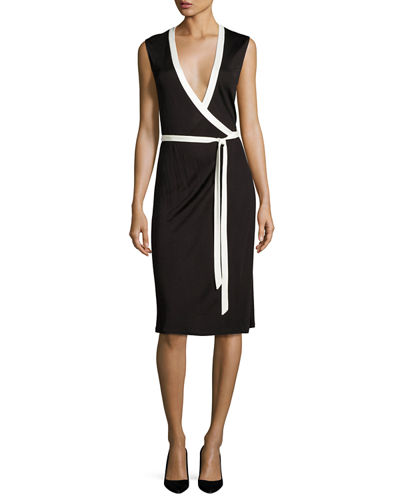 Valena Sleeveless Jersey Wrap Dress