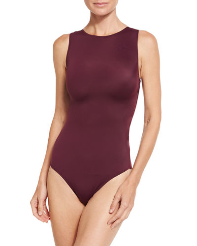 Carlotta Back-Zip One-Piece Swimsuit, Prune