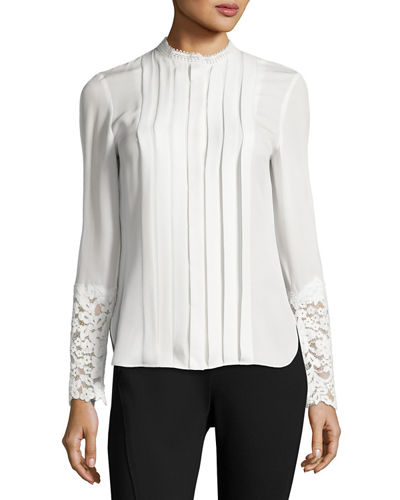 Nicola Lace-Trim Pleated Silk Blouse