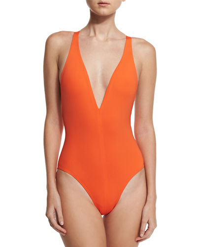 Solid Plunge-Neck One-Piece Swimsuit