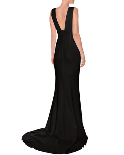 Plunging Sleeveless Godet Gown