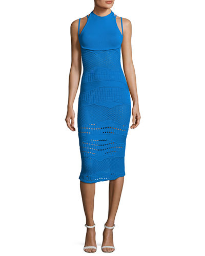 Crocheted Halter Midi Dress