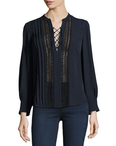 Lace-Up Silk Georgette Top