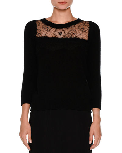 3/4-Sleeve Lace-Yoke Boucle Sweater