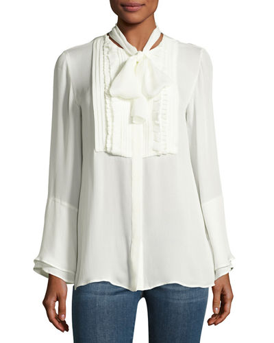 Pleated-Bib Silk Shirt with Scarf