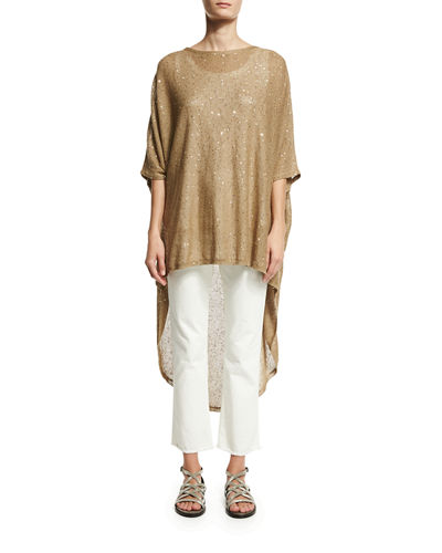 Paillette-Embellished Knit High-Low Poncho