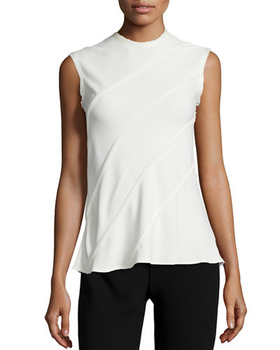 Sleeveless Diagonal-Ruffle Top