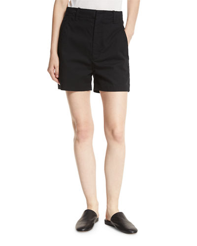 High-Waist Stretch-Cotton Shorts