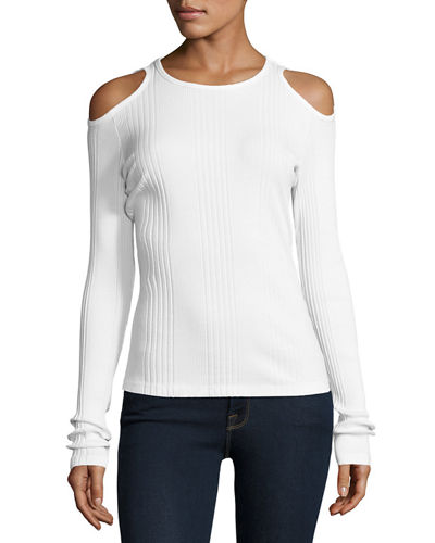 Variegated-Rib Cold-Shoulder Long-Sleeve Top