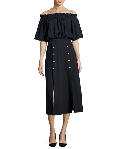 Dakota Off-the-Shoulder Button Midi Dress