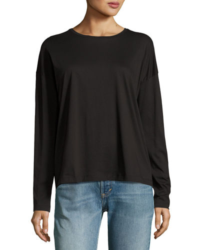 Relaxed Long-Sleeve Pima Cotton Crewneck Tee