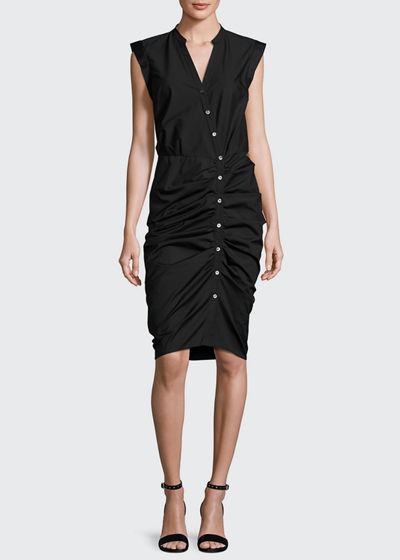 Sleeveless Ruched Poplin Shirtdress