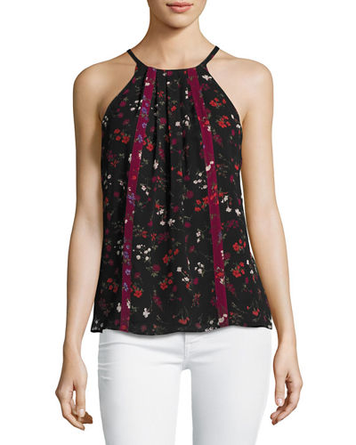 Hawn Sleeveless Floral-Print Silk Top