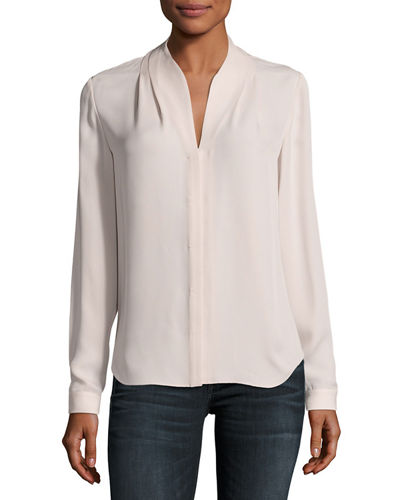Bea Long-Sleeve Button-Front Silk Blouse