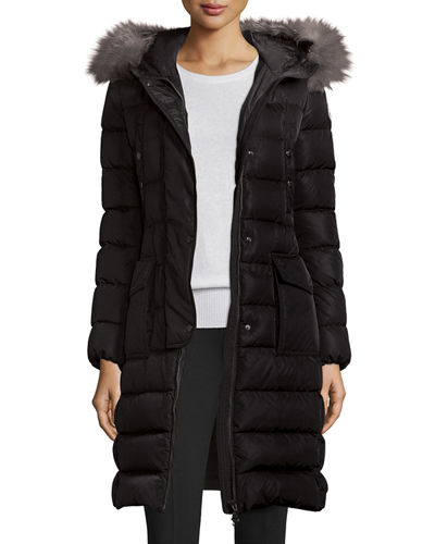Moncler Khloe Quilted Puffer Coat w/ Fur Hood