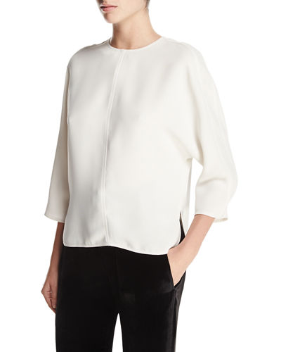 Open-Back Crewneck Top, Chalk