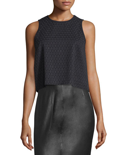 Evie Sleeveless Cotton Honeycomb Top