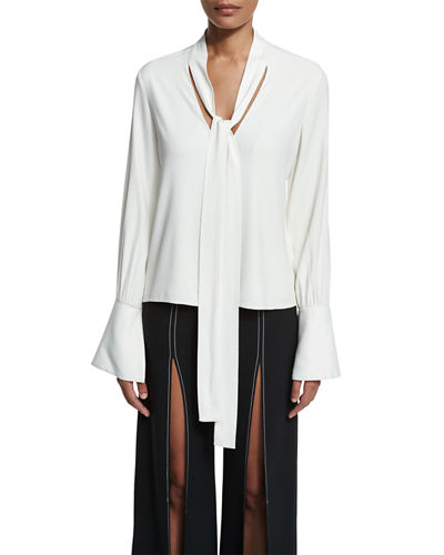 Diana Bell-Sleeve Tie-Neck Blouse