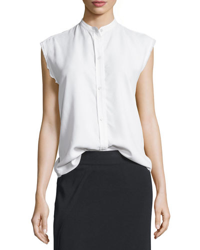 Sleeveless Back-Knot Poplin Shirt