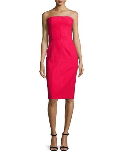 Margo Strapless Paneled Sheath Dress, Cardinal