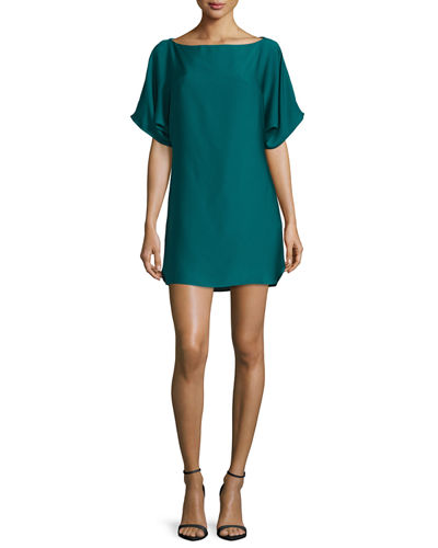 Boat-Neck Dolman Shift Dress
