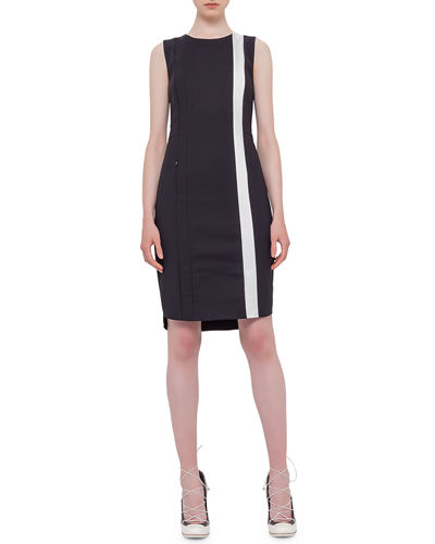 Sleeveless Contrast-Stripe Sheath Dress