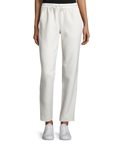 Collier Silk-Trim Track Pants, Ivory
