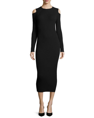 Jemlora Cold-Shoulder Midi Dress, Black