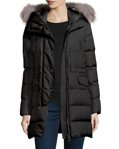 Moncler Fragonette Fur-Trim Puffer Coat