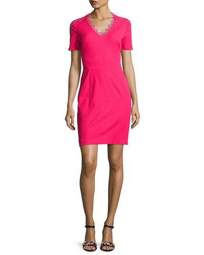 Elie Tahari Ainsley Short-Sleeve Lace-Trim Sheath Dress